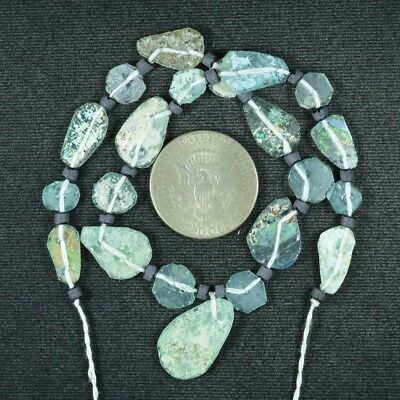 Ancient Roman Glass Beads 1 Medium Strand Aqua And Green 100 -200 Bc 775