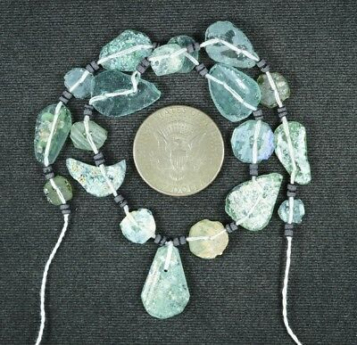 Ancient Roman Glass Beads 1 Medium Strand Aqua And Green 100 -200 Bc 779