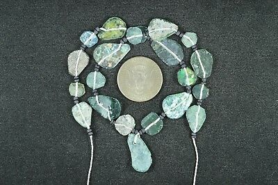 Ancient Roman Glass Beads 1 Medium Strand Aqua And Green 100 -200 Bc 780