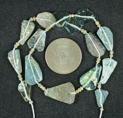 Ancient Roman Glass Beads 1 Medium Strand Aqua And Green 100 -200 Bc 781