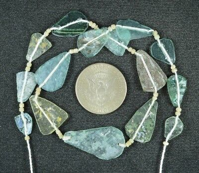 Ancient Roman Glass Beads 1 Medium Strand Aqua And Green 100 -200 Bc 783