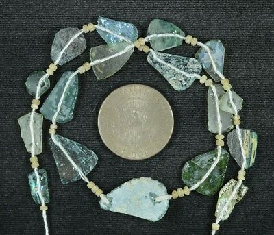 Ancient Roman Glass Beads 1 Medium Strand Aqua And Green 100 -200 Bc 785