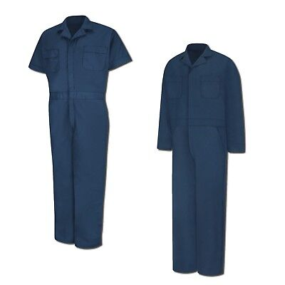 Red Kap Speedsuit Navy Short / Long Sleeve  Zip-Front Work Coverall Action Back