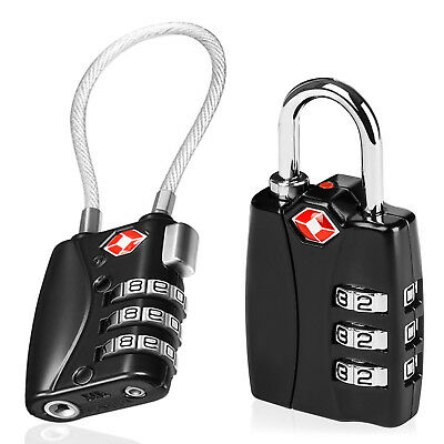 Small 3 Dial Combination Padlock Ideal Travel Added Security Suitcase & Backpack
