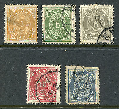 1876 Iceland.  Part set of 5 USED.  CV £62.40.