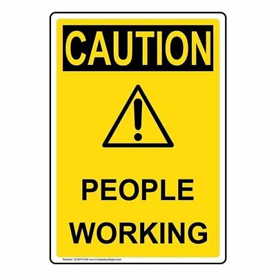 caution sign people working 10 x 14 osha safety sign 8 95
