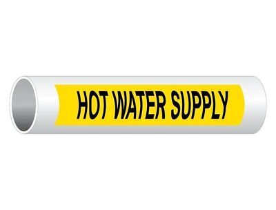 ComplianceSigns Vinyl ASME A13.1 Water Pipe Label, 8 x 2 Inch Yellow 50-pack
