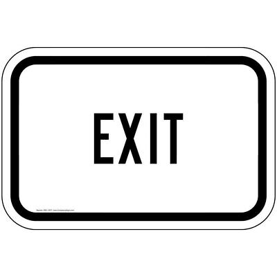ComplianceSigns Vinyl Enter / Exit Label, Reflective 12 x 8 in. with Exit...
