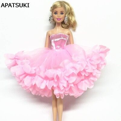 Pink Multi-layer Dress Fashion Off-shoulder Dress For Barbie Doll Clothes