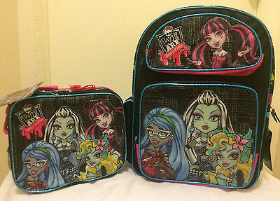 "Monster High 16"" School Backpack With Lunch Bag 2Pc Set"