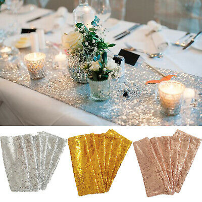 """Silver Glitter Sequin Table Runner Runners Sparkly Wedding Party Decor 12x108"""""""