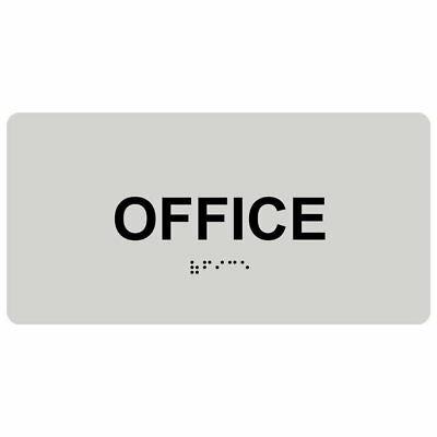 ComplianceSigns Acrylic ADA Braille Room Name Sign, 8 x 4 in. Pearl Gray