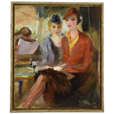 French Art Deco painting of 2 elegant ladies on a terrace by C. Brunt 1938