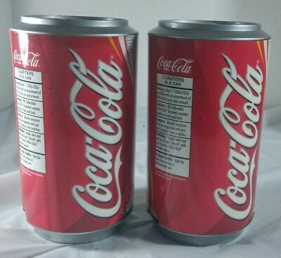 Lot of 2 Coca-Cola Coke Dispensable  Coasters 80 In Can Shaped Dispenser 2002