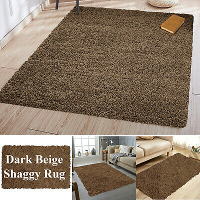 Small Extra Large Thick Shaggy Rugs Pile Beige Rug Soft Plain Modern Luxury