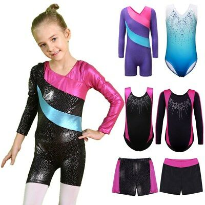3-12Y Girls Blingbling Ballet Leotards Gymnastics Shorts Dancewear Dress Suit
