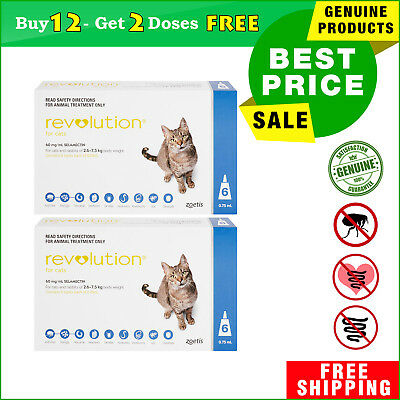 REVOLUTION for Cats BLUE Pack 2.6 to 7.5 Kg 12 Pipettes + 2 FREE Pipettes