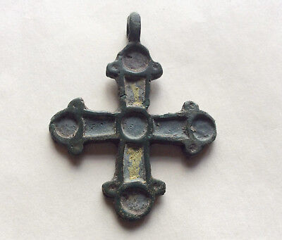 Ancient Viking Bronze Yellow Enamel  Cross Pendant Kievan Rus' c 10-12 AD