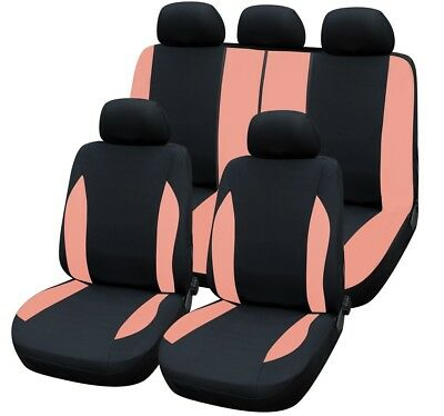 HEAVY DUTY BLACK & PINK SEAT COVER SET for BENTLEY CONTINENTAL GT COUPE 12-ON
