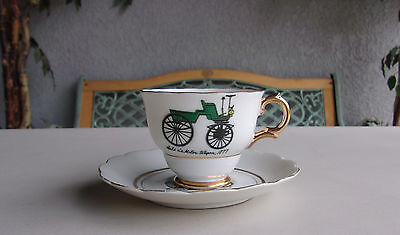 Napco Seldens Motor Wagon Teacup & Saucer Set Handpainted Vintage Antique Cup