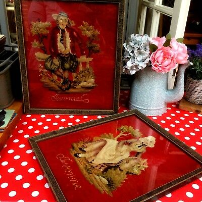 Pair RARE Antique Victorian Lady & Gent BERLIN WOOLWORK Tapestry Wedding Panels
