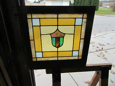 ANTIQUE AMERICAN STAINED GLASS WINDOW 24 x 24 ~ ARCHITECTURAL SALVAGE ~