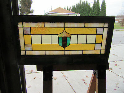 ANTIQUE AMERICAN STAINED GLASS TRANSOM WINDOW 36 x 18 ~ ARCHITECTURAL SALVAGE ~