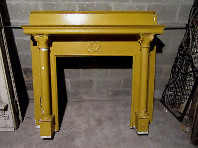 ~ Antique Carved Cherry Fireplace Mantel~ 60 X 56 ~ Architectural Salvage ~