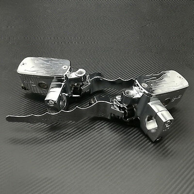 """1/"""" Flame Control Reservoir Brake Clutch Levers For Harley Choppers Dyna Glide"""