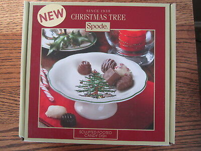 """NEW Spode Christmas Tree Footed Candy Dish Sculpted 7"""" Giftable  /NIB"""