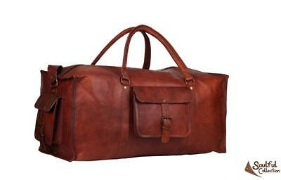 Men Brown Vintage Genuine Leather Cowhide Travel Luggage Duffle Gym Bag weekend