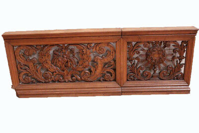 Beautifully Carved Antique French Church Altar Railing, 19th Century, Oak