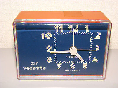Ancien Réveil Vintage Orange Vedette / Horloge Pendule Mouvement Old Clock