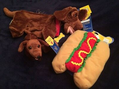 New w/ Tags Unstuffed Retired Build A Bear Dachshund, Hot Dog Costume and Puppy