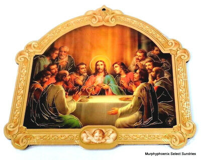The Last Supper Cathedral Wooden Plaque w Gold Leaf Stamping NIP