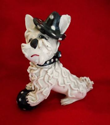 Vintage Spaghetti Poodle in Polka Dot Hat Italy BEAUTIFUL Dog! Marked Figurine