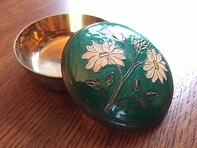 Vintage 1970's Solid Brass Cloisonne Round Covered Trinket Box Jewelry Box Nice!