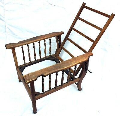 Antique Morris Recliner Chair Frame Mission Oak Arts & Crafts