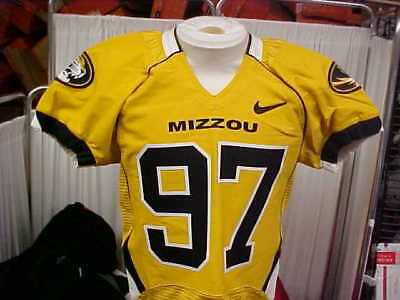 7df71286c SEC Missouri Tigers Game Worn Gold Black Nike Player  97 Football Jersey  Size 42
