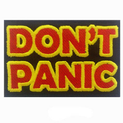 DON'T PANIC Words slogan Iron On Patch -  The Hitchhikers guide to the Galaxy
