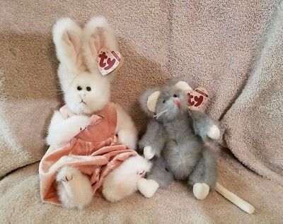 Vintage 1993 Ty Beanie Babies Sara Bunny Plush Stuffed Animal w  tags    Squeaky 032492cad0ad