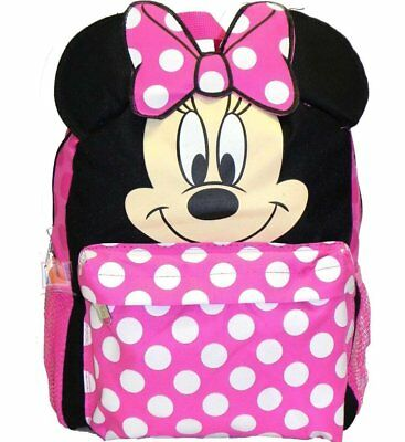 "Disney 12""  Minnie Mouse Face Back to School Backpack Small Bag with 3D Ear"