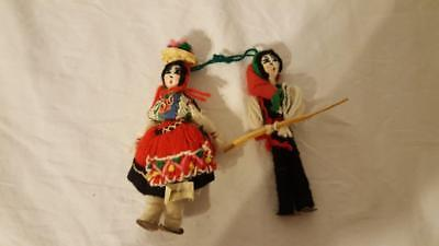 """5"""" Pair Vintage Portugal Yarn Dolls Couple Old Hand Made 60's Ornate Ethnic"""