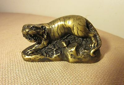 vintage Chinese solid heavy gilt bronze detailed figural tiger statue figurine