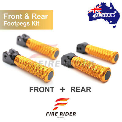 For GT 1000 /Touring All Year Front + Rear Pair Gold CNC Pole Footpegs