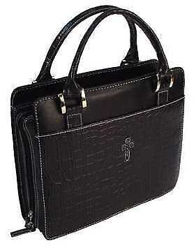 Bible Cover-Croc Embossed Purse Style-Large-Black
