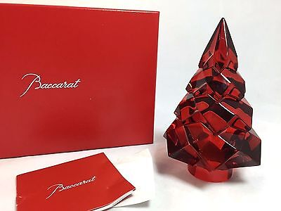 Baccarat MEGEVE Diamant Diamond Fir Christmas Tree - RED Crystal New in Box $420