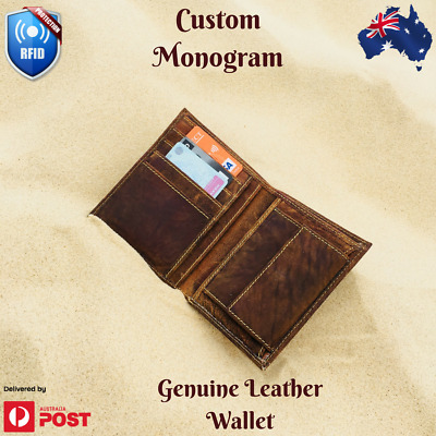 Personalised Mens RFID Leather Wallet Custom Monogram gift AU Stock