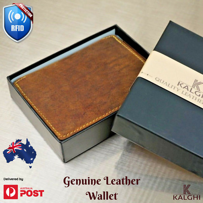RFID Security Lined Zip-Around Leather Wallet Genuine Hunter Leather men gift AU
