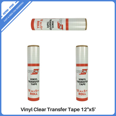 """12""""x5' Vinyl Clear Transfer Paper Tape Roll  Craft Adhesive Grid Backing Tapes"""